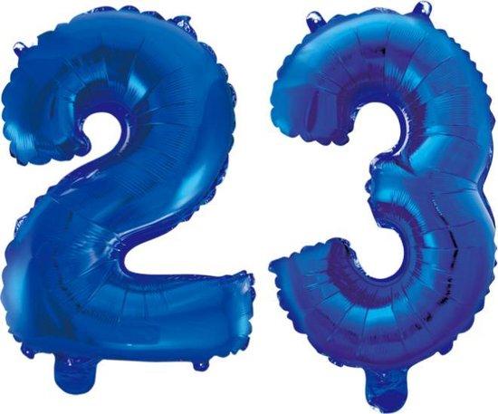 Folieballon 23 jaar blauw 86cm