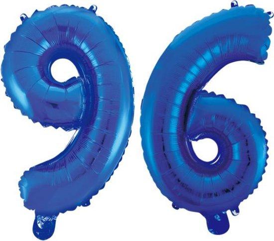 Folieballon 96 jaar blauw 86cm