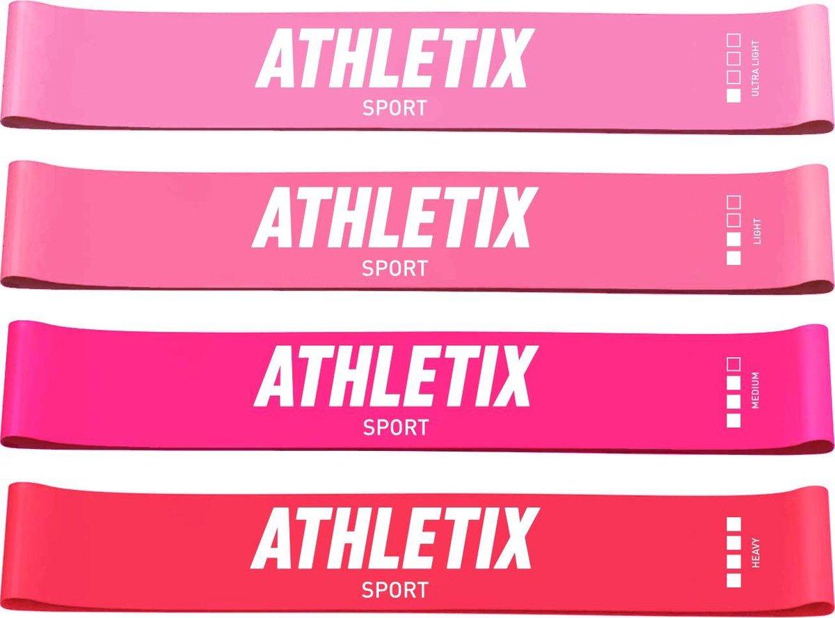 Athletix® - Roze Weerstandsbanden Set - 4 Resistance bands - Booty Bands met Gratis Draagtas en Oefe