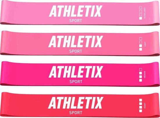 Athletix® - Roze Weerstandsbanden Set - 4 Resistance bands - Booty Bands met Gratis Draagtas en Oefeningen