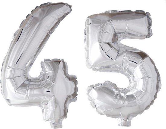 Folieballon 45 jaar zilver 41cm