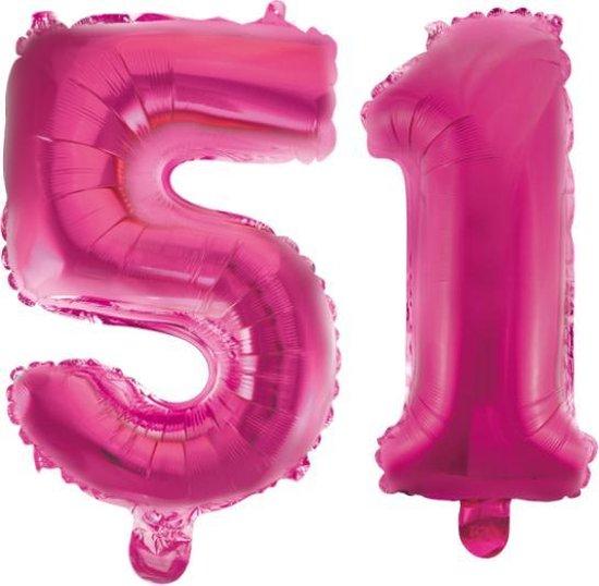 Folieballon 51 jaar roze 41cm