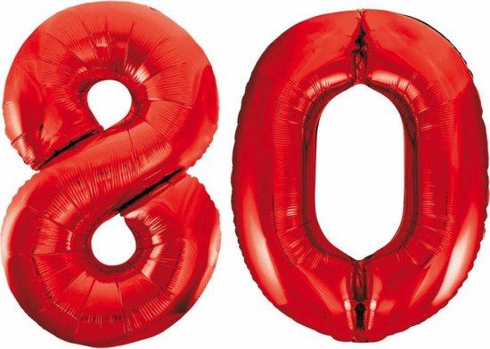 Folieballon 80 jaar rood 86cm