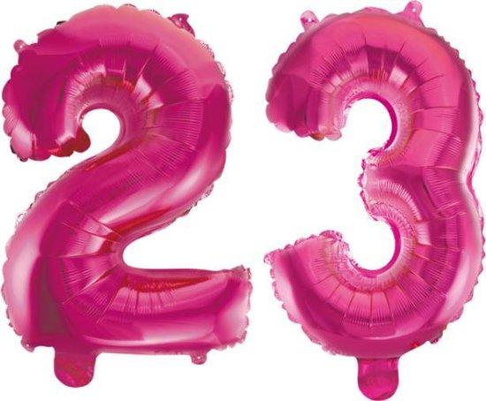 Folieballon 23 jaar roze 41cm