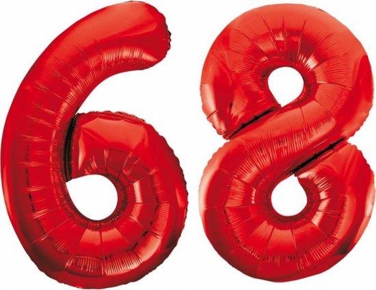 Folieballon 68 jaar rood 86cm