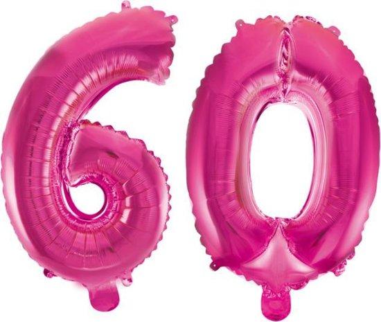 Folieballon 60 jaar roze 41cm