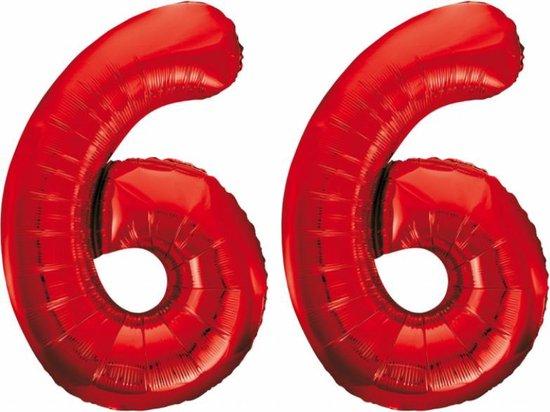 Folieballon 66 jaar rood 86cm