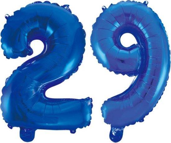 Folieballon 29 jaar blauw 86cm