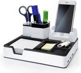 Monolith Desk Organizer wit met 3 USB poorten voor het opladen van smartphones of tablets