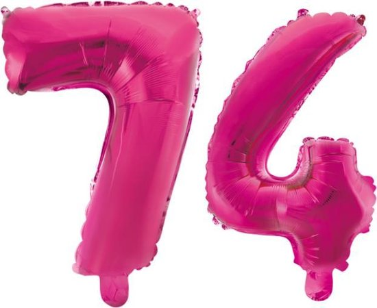 Folieballon 74 jaar roze 86cm