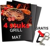 ATV PERFECTUM BBQ Mat XL + Gratis No touch Key – 40 x 33 cm – 4 Stuks - Bbq accesoires – Teflon -bakmat – Grillmat – Grill mat - grill mat voor bbq - BBQ Matjes - Grill Matjes - barbecue mat - mat grill ovenbeschermers herbruikbaar niet kle
