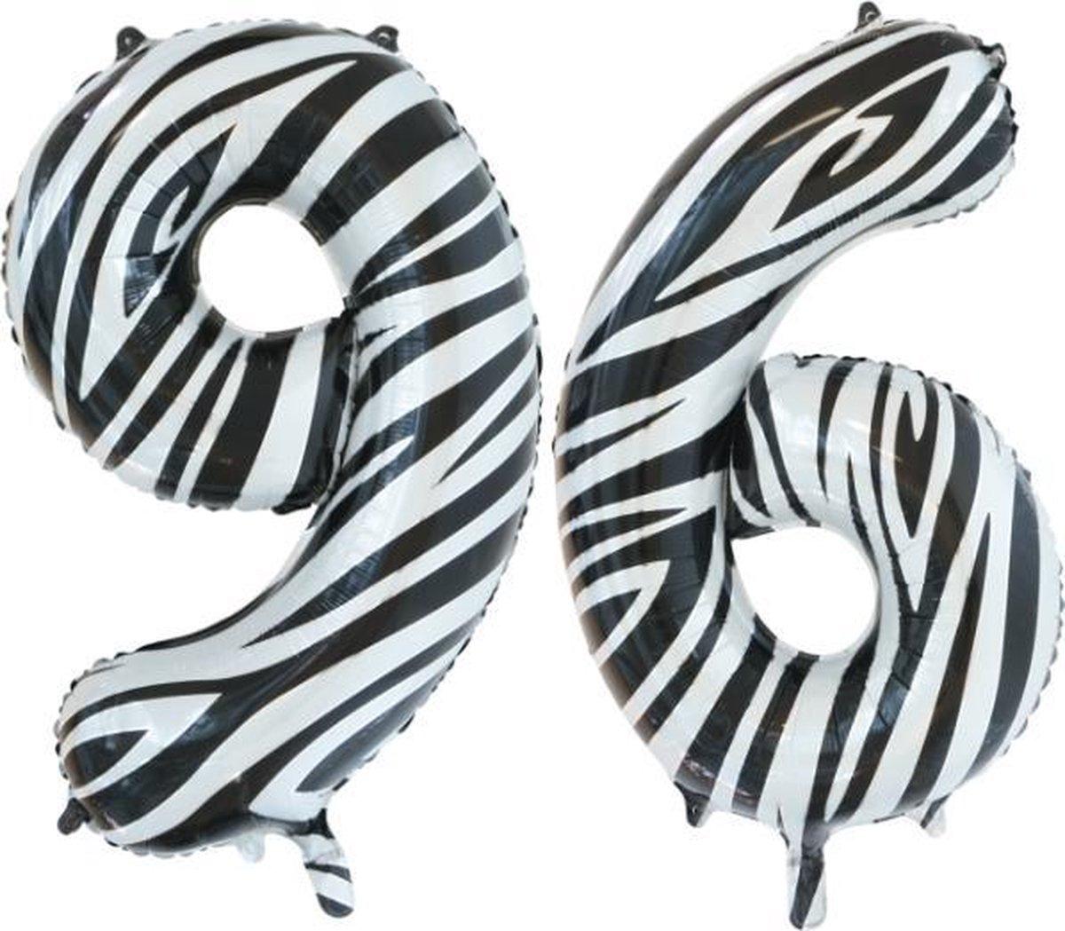Folieballon 96 jaar zebra 86cm