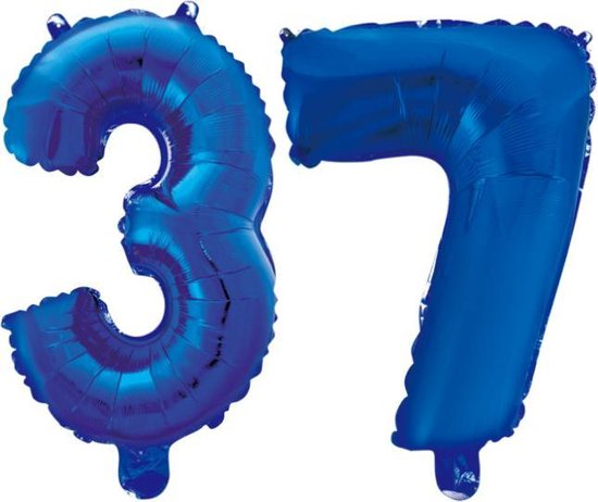 Folieballon 37 jaar blauw 41cm