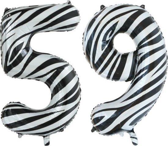Folieballon 59 jaar zebra 86cm