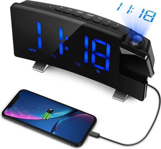 Digitale Wekkerradio met Projectie - Wekker Kinderen- Projectie Klok - Kinderwekker - Wekkers Digitaal - Incl USB Kabel & Batterij
