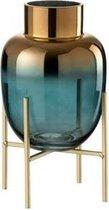 J-Line Vaas op Voet Glas Turquoise / Goud
