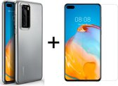 Huawei P40 Hoesje Transparant - Siliconen Case - 1 x Tempered Glass ScreenProtector