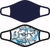 2 Herbruikbare mondkapjes voor kinderen (10-16 jaar) Graffiti/Blauw