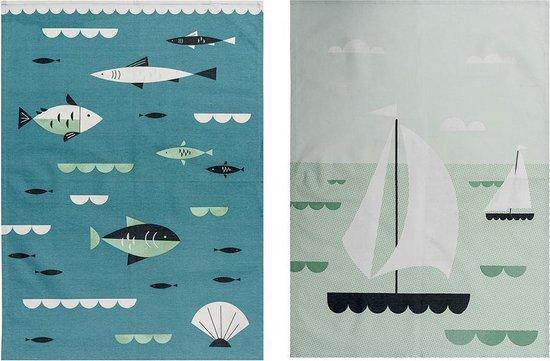 2 theedoeken zeilboten en vissen - Magpie Ahoy Sailboats & Fish Tea Towel