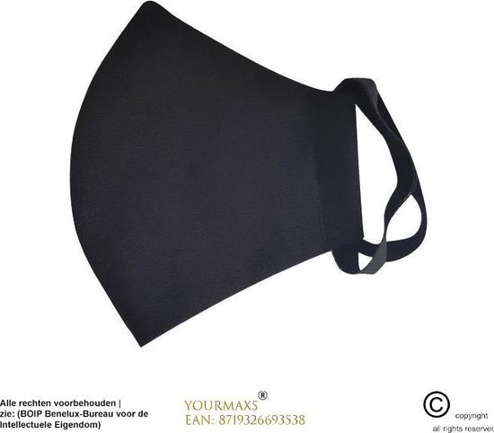 Wasbare mondkapje - Inclusief permanente filter - Mondmasker - Wasbare mondkapje - 3 laags en wasbaar - Hoogwaardig kwaliteit - Niet medische mondmasker - Zwart - Wasbaar - Mondkapje - Filter - Face mask - Facemask - Mondkapjes - YourMaxs - YourMaxs