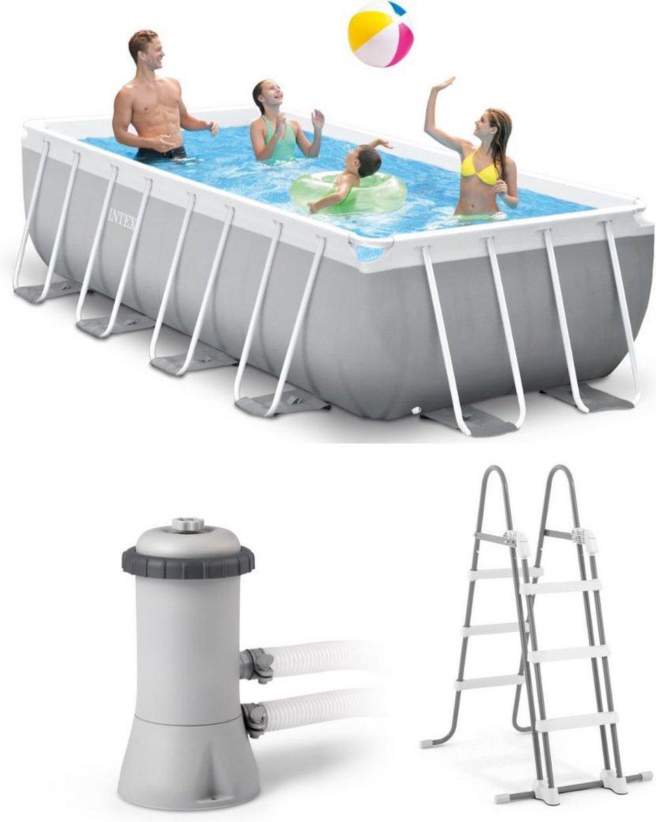 Intex Prism Frame zwembad - 400 x 200 x 100 cm - Grijs
