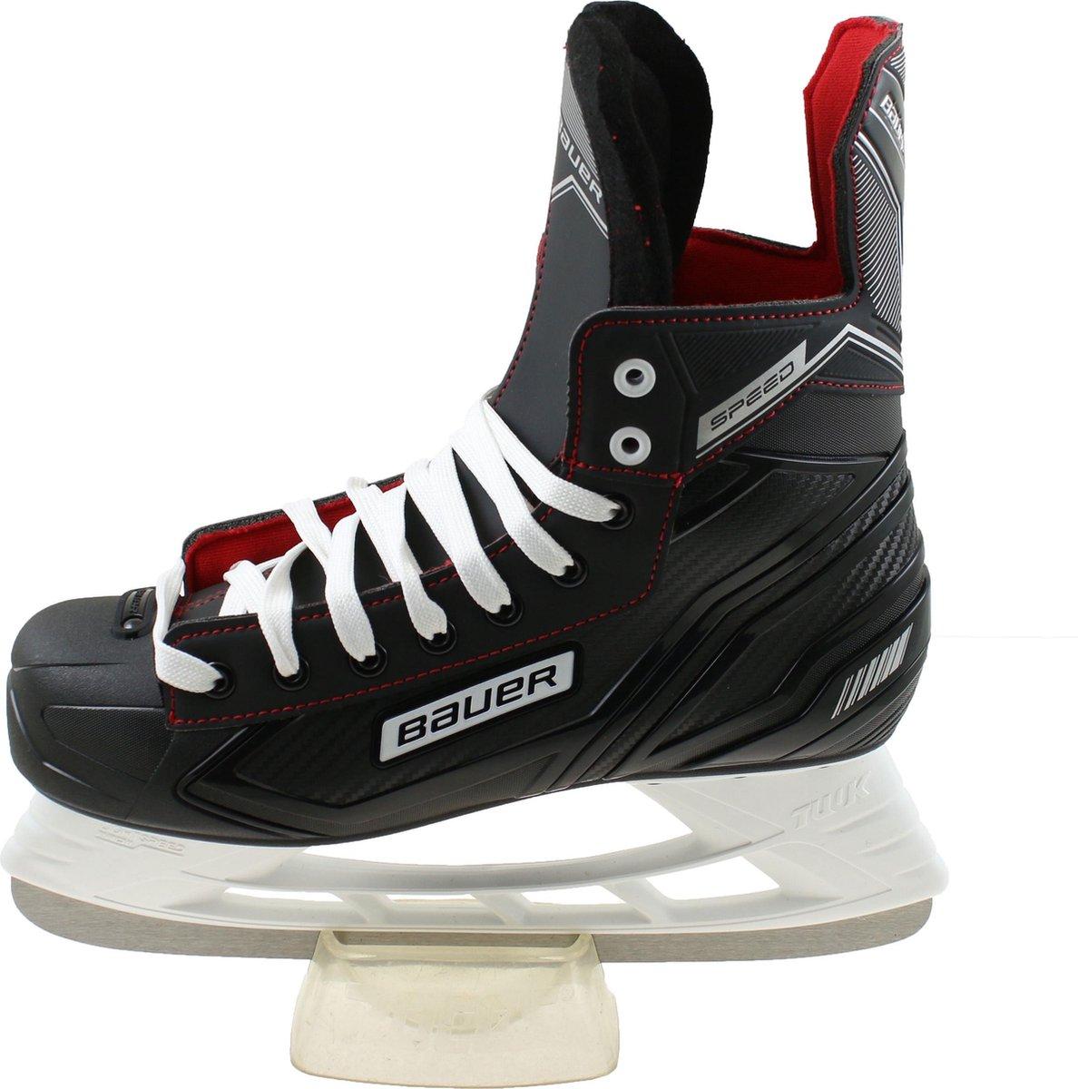 Bauer speed ijshockeyschaatsen junior in de kleur zwart.