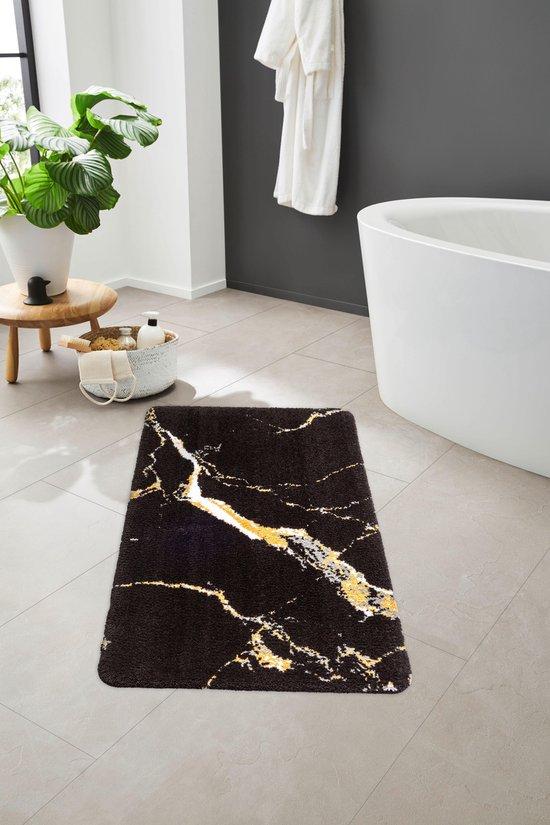 Bol Com Luxe Antislip Badmat Marvellous Marble Polyester Badkamer Tapijt 60x90 Made In