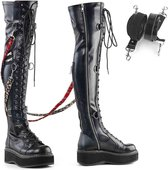 EU 40 = US 10 | EMILY-377 | 2 PF STR Over-the-Knee Lace-Up Boots, Side Zip