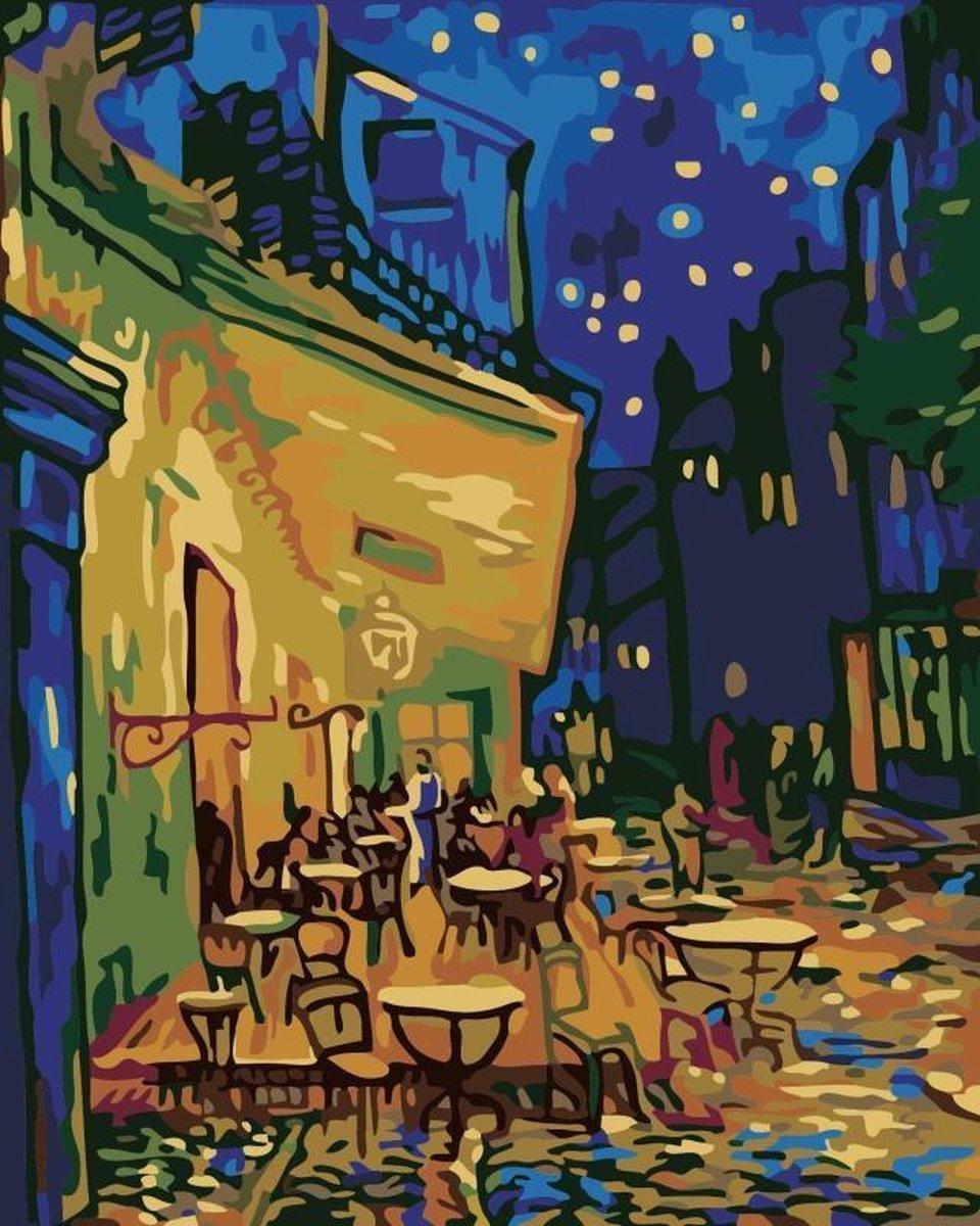 ArtyMe® - Schilderen op nummer - Schilderen op nummer voor volwassenen - Caféterras bij nacht - Vincent van Gogh - Complete set - Ongevouwen geleverd