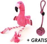 1 x Flamingo Hondenspeelgoed + Gratis honden touw (30cm) - Speeltje - Hondenspeeltjes - Roze - Zeer geschikt om uw hond bezig te houden