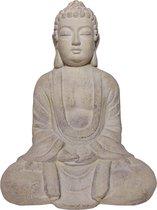 Boeddha Beeld - Witte/ Beige Boeddhabeeld - Boeddha tuinbeeld - Boeddha interieur beeld - Rustgevend beeld - Decoratiestuk - Filosofische Boeddha - Religieus Beeld - Dhyana Mudra houding - Meditatie Boeddha - Meditatie beeld - Rustgevend interieur