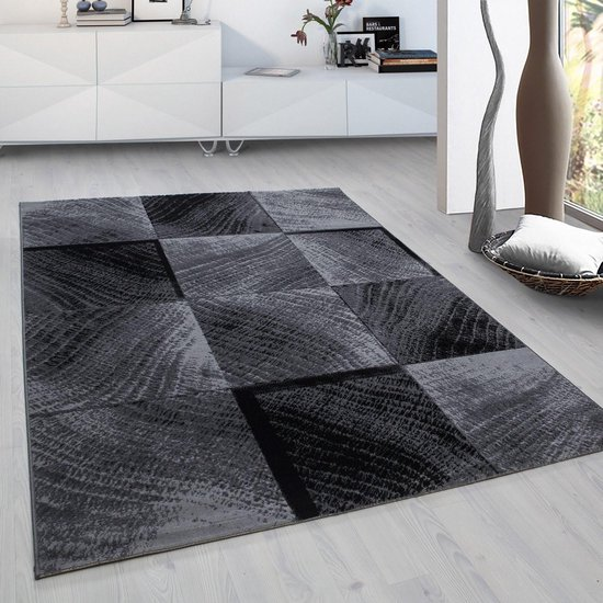 Plus Vloerkleed Grijs / Zwart Laagpolig - 80x300 CM
