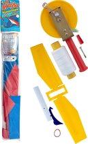 Windvogel - Kite - Wind vlieger Gayla STUNTMASTER BLAUW/WIT - 120 cm spanbreedte + GRATIS MOLEN MET TOUW EN KITEBIRD