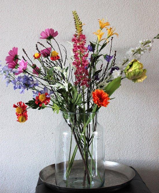 Zijden Boeket - Veldboeket van diverse Bloemen - 75 cm hoog - Kunstbloemen - 10 Stelen