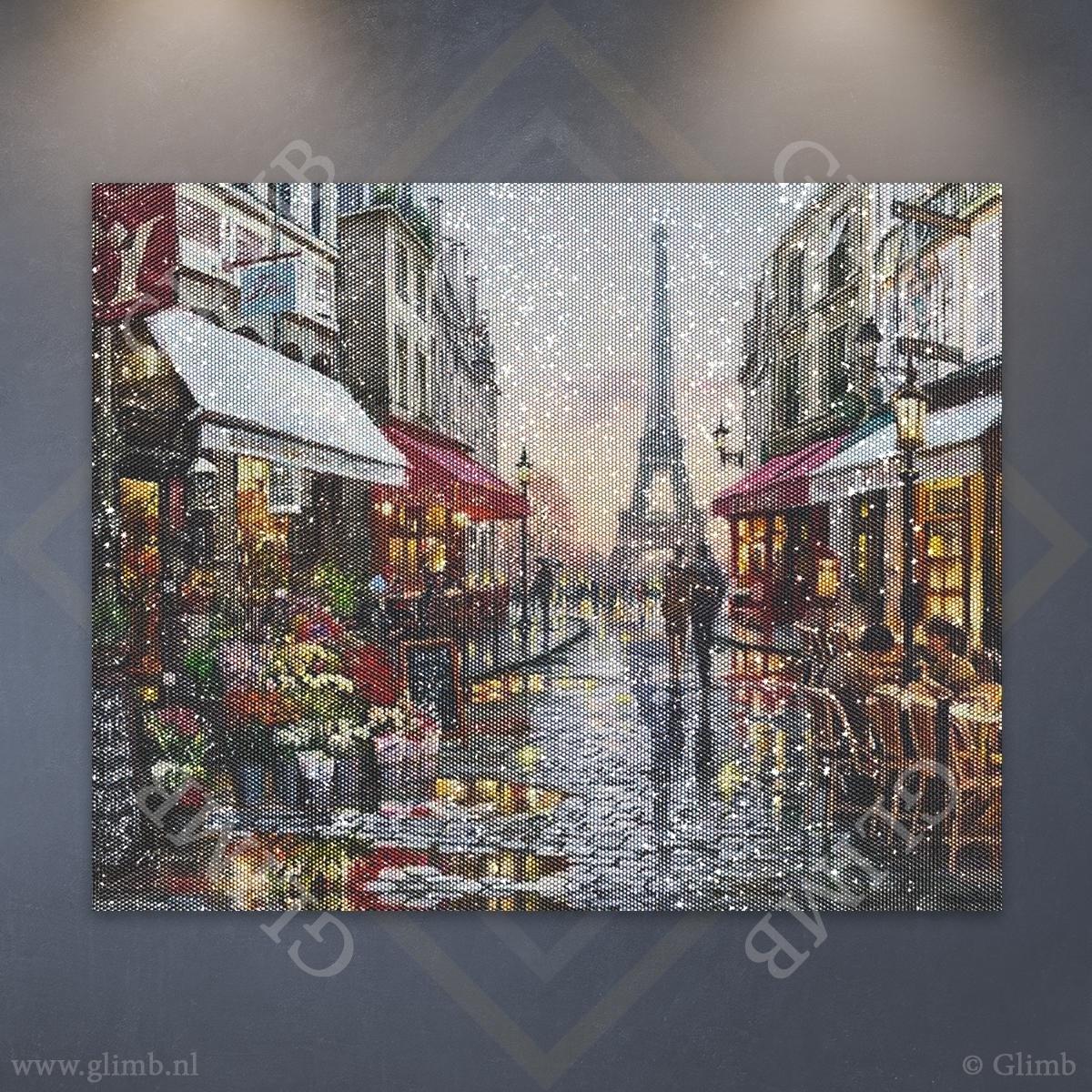 Glimb® | HQ Diamond Painting Pakket | Parijs | 50x40cm | Rond | Volledig | Made in NL! // Diamond Painting - Diamond Painting Pakketten - Diamond Paint - Daimond Painting - Dotz -Diamond Schilderen - Diamond Painting Volwassenen
