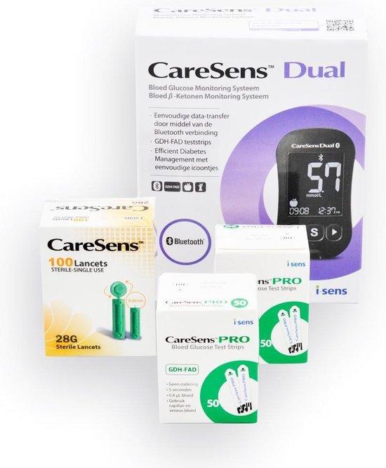 CareSens Dual glucose en ketonen startset, incl. meter,prikpen, 110 glucosestrips en 110 lancetten