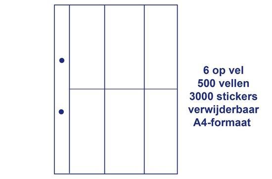 A4 zelfklevende, stickervellen, printetiketten, 6 per vel, 147 x 62 mm, 2 boorgaten, 100 vellen, 600 stickers, wit