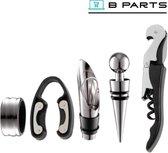 BParts - Wijn opener kit - Wine tool set - Wijn ring + Kurkschroef + Wijn stopper + Wijn schenktuit + Wijnfles snijder