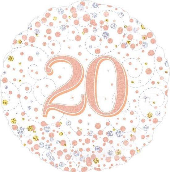Folie Ballon 20 jaar Wit / Roze-goud holografische, 45 centimeter.