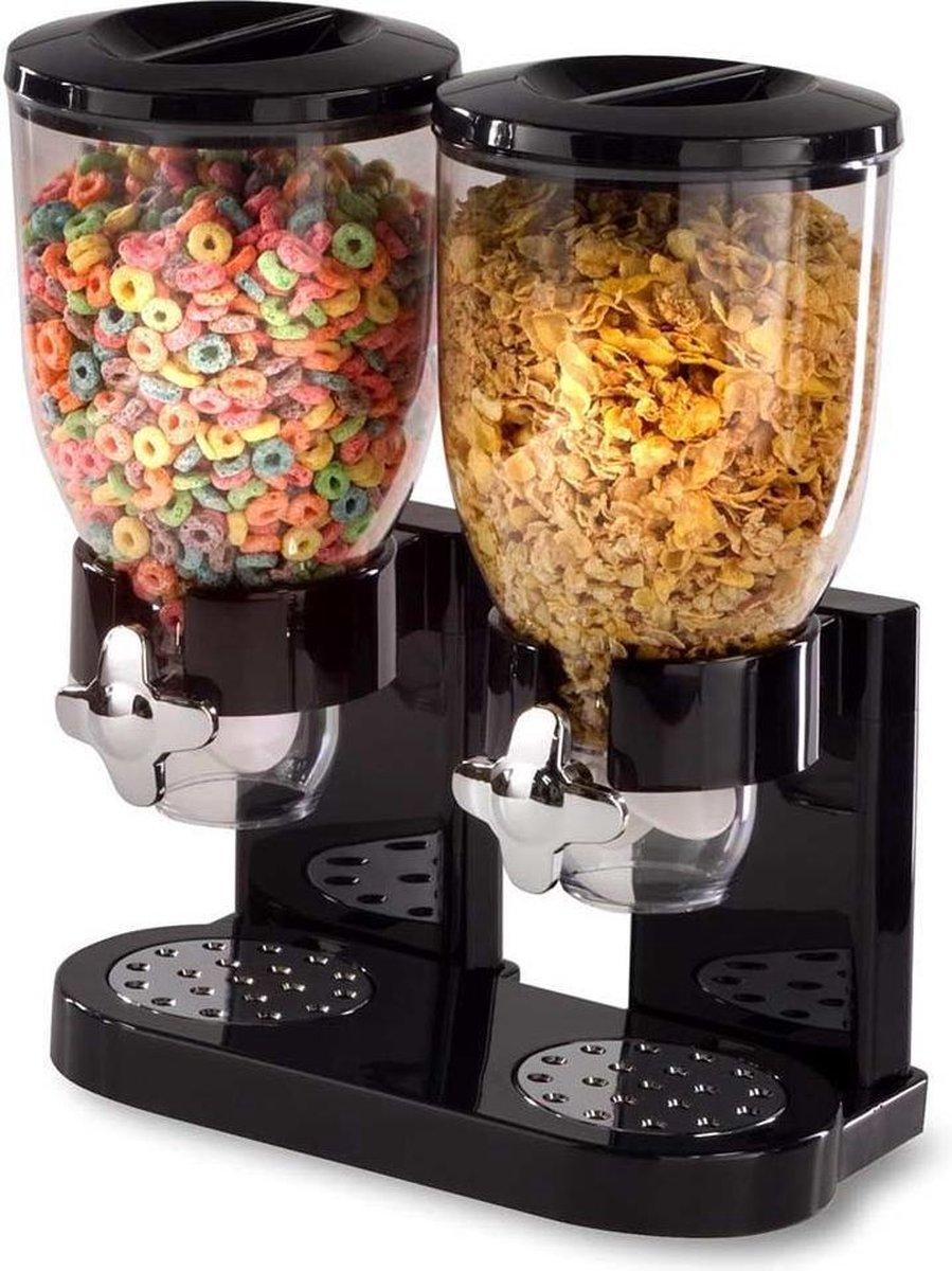 MikaMax Cornflakes Dispenser - Voorraadbus - Cornflakes Voorraadpot - zwart - 2 x 500 Gram