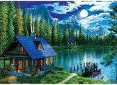 Hobbycave - Diamond Painting Pakket HQ - 40X30 CM - Vierkant - Dotz - Volwassenen - Huisje Aan Het Meer