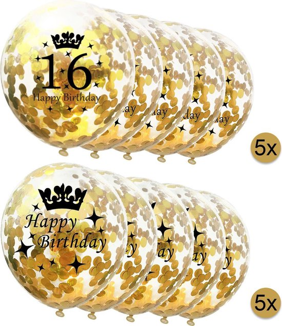 10 stuks confetti ballonnen - 5 stuks 16 jaar + 5 stuks Happy Birthday - Gouden Confetti - Verjaardag - Versiering