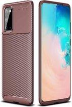Samsung Galaxy S20 - Hoesje TPU Flexibele beschermhoes - Carbon Fibre brons