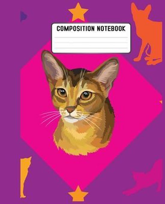 Composition Notebook: cats' faces pattern on a soft blue background. This large has 110 of quality white paper