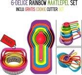 6-Delige rainbow Maatlepel Set | Maatbeker Set | measuring cups | 6 maatcups|Cookie Cutter|Set