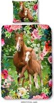 Good Morning - Dekbedovertrek - Foal - Paard Met Veulen - Eenpersoons - 140x200/220 - 100% Katoen - Multi Kleur
