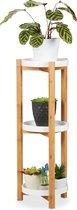 relaxdays plantentafel 3 etages - bamboe - rond - moderne plantenrek - bijzettafel hout