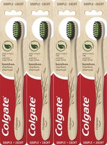 Colgate Bamboo charcoal tandenborstel zacht 4 stuks