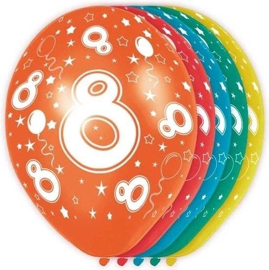 15x stuks 8 Jaar thema versiering helium ballonnen 30 cm - feestartikelen en versieringen