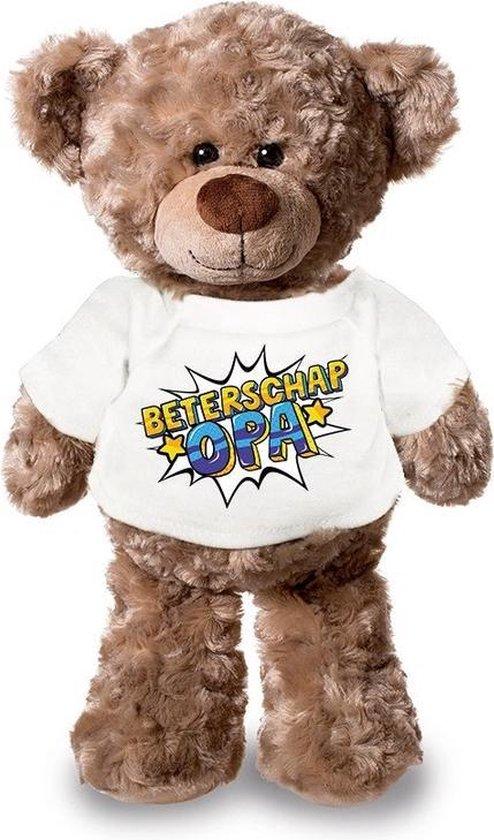 Beterschap opa pluche teddybeer knuffel 24 cm met wit pop art t-shirt - beterschap opa / cadeau knuffelbeer